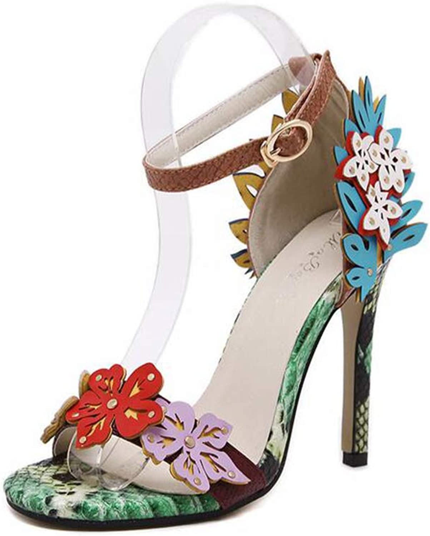 Summer Flowers Snakeskin Pattern Sandals shoes Prom Wedding Dress shoes High Heels Women Pumps