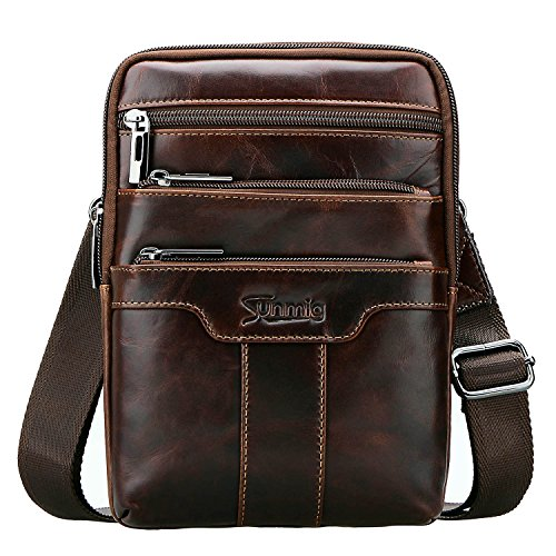 Sunmig Men's Vintage Genuine Leather Shoulder Bag Messenger Bags (brown-3803)