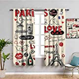 Paris City Decor Collection Cortina de ventana Paris Love Doodles Café vino vidrio Croissant Queso Cupcake Kiss Sketchy Art Image Bring Beauty Rojo Negro W42 x L63 pulgadas