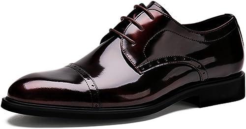 zapatos Clásicos de Piel para Hombre zapatos de Cuero para hombres Negocios Ropa Formal zapatos de Boda de Encaje Puntiagudo zapatos Individuales (Color   Vino rojo, Tamaño   EU44 UK8.5)