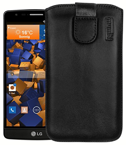 mumbi Echt Ledertasche kompatibel mit LG G3 S Hülle Leder Tasche Hülle Wallet, Schwarz
