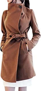 Women's Winter Thicken Long Wool Trench Coat Jacket with Belt
