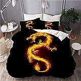 Juego de funda de edredón, ilustración de fuego, dragón chino símbolo sabiduría, juego de cama decorativo de 3 piezas con 2 fundas de almohada, tamaño king