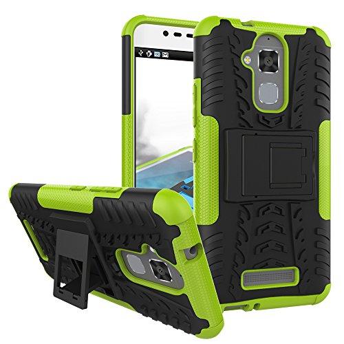 TiHen Handyhülle für Asus Zenfone 3 Max ZC520TL Hülle, 360 Grad Ganzkörper Schutzhülle + Panzerglas Schutzfolie 2 Stück Stoßfest zhülle Handys Tasche Bumper Hülle Cover Skin mit Ständer -Grün
