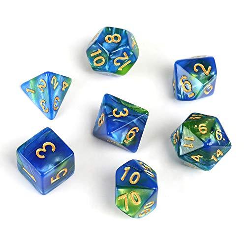 GWHOLE 7 Pezzi Dadi Poliedrici per Giochi di Ruolo con Giochi da Tavolo Dungeons And Dragons con Sacchetto Nero, Blu Verde