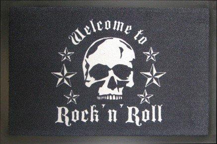 KUHEIGA Fussmatte/Schmutzfangmatte, 40 x 60 cm, Rock n Roll - Skull