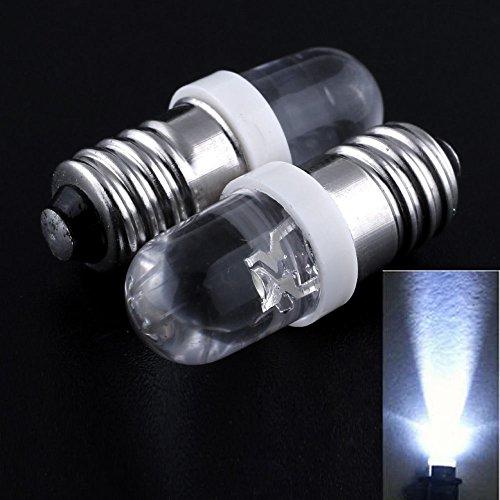 10bombillas LED E10de 3V, 3,5V, luz color blanco MES 1447, tornillo para linterna para bicicleta
