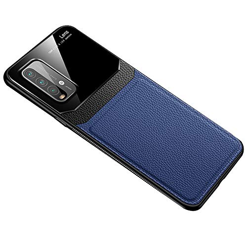 Redmi 9T 4G ケース/カバー レザー&TPU 有機ガラス スリム シャオミ 小米 リドミ 9T 4G用ケース アンドロイド スマフォ スマホ スマート おしゃれ フォンケース/カバー(ブルー)