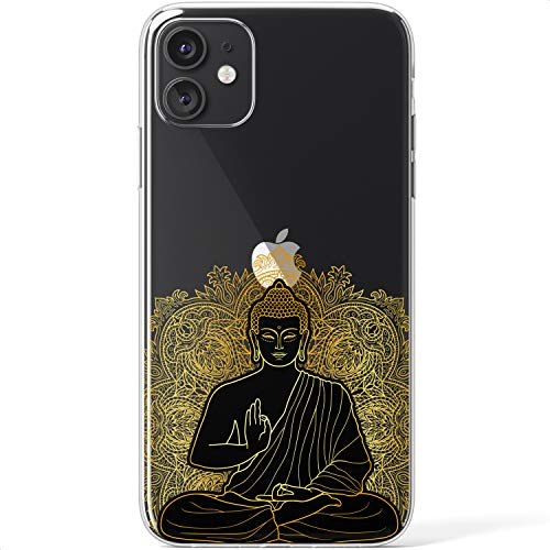Mertak Clear Case Compatible with iPhone 12 Pro Max Mini 11 SE 10 Xr Xs 8 Plus 7 6s 5s Bohemian Lightweight TPU Girls Cover Lotus Protective Flexible Gold Black Buddha Slim Women Mandala Silicone