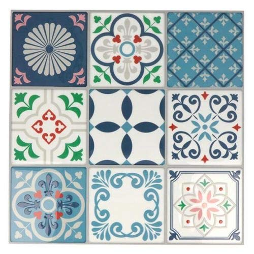 Stickers carreaux de ciment 8 cm - Blanc, bleu, vert, rouge - 18 carreaux