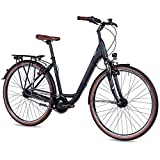 Airtracks 28 Zoll City Fahrrad Shimano Nexus 7 Gang - LS Cityrad CI.2820W - Rahmenhöhen 45cm und 50cm - Schwarz Matt Modell 2021 (50cm (für Körpergröße 165-180cm))
