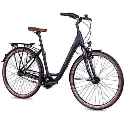 Airtracks LS City fiets voor dames, 28 inch, Cityfiets CI.2820W Shimano Nexus 7 versnellingen, mat zwart, framehoogte 45 cm en 50 cm, model 2020
