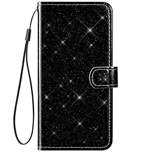 Surakey PU Leder Hülle für Xiaomi Redmi Note 8 Pro Handyhülle Schutzhülle Glänzend Bling Glitzer PU Tasche Leder Flip Case Brieftasche Etui Wallet Case Handytasche Ständer Kartenfächer, Schwarz