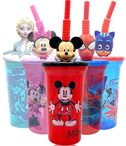 Disney Mickey Water Tumbler with 3D Character Head Straw Drinkware - Safe BPA free Bottles, Easy to Clean, Perfect Gifts for Kids Boys Girls Toddlers for Home Travel Goodies