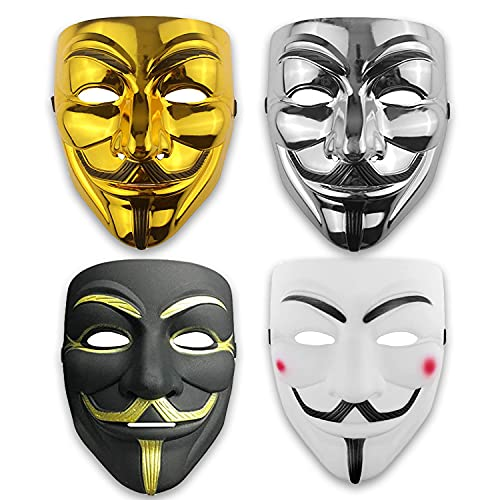 V for Vendetta Hacker Mask - Anonymous Guy Halloween Masks for Adults (4 Pack)