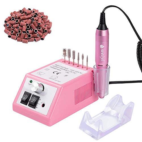 Ponceuse pour ongles électrique professionnelle Outils de Polissage Limer les Ongle avec 100 bagues de ponçages fournies Rose