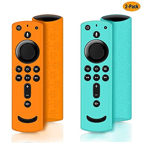 2 Pack Remote Cover for Fire TV Stick 4K, Silicone Remote case for Fire TV Cube/Fire TV(3rd Gen) Compatible with All-New 2nd Gen Alexa Voice Remote Control, Anti-Slip Shockproof (Blue and Orange)