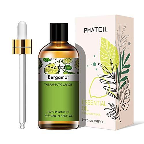 PHATOIL Aceites Esenciale de Bergamota 100 ml, 100% Naturales Puros, Aceite Esencial de Aromaterapia de Grado Terapéutico, Aceite Esenciales para Humidificador, Difusor, Regalos Perfectos