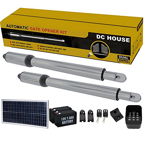 DC HOUSE Heavy Duty Automatic Solar Gate Opener Kit with Wireless Keypad Dual Swing Gate Openers for Home Security/Farm/Garage/Business,Up to 16.4 Feet or 850 Pounds (Batteries Included)