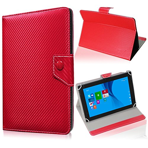 UC-Express Tablet Tasche für Medion Lifetab S10345 S10346 Hülle Schutzhülle Carbon Hülle Bag, Farben:Rot