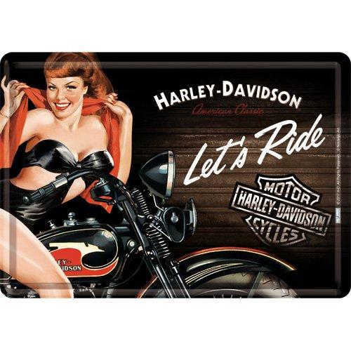 Nostalgic-Art Retro Grußkarte Harley-Davidson Babe, Geschenk-Idee für Biker, Blechpostkarte, Mini-Blechschild im Vintage-Design, 10 x 14 cm