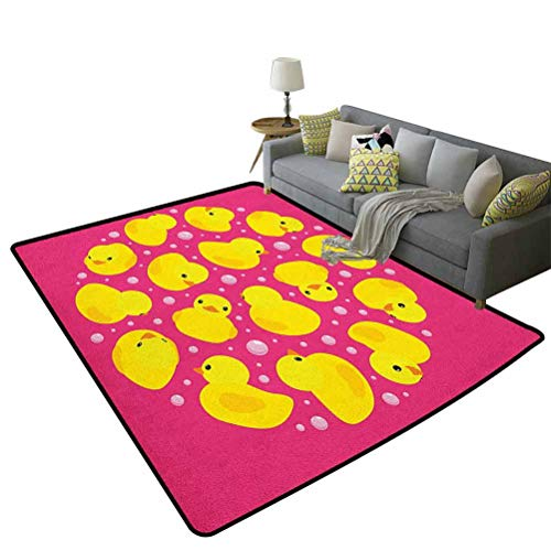 Lowest Prices! Rubber Duck Luxury Carpets Fun Baby Duckies Circle Artsy Pattern Kids Bath Toys Bubbl...