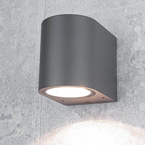 """Design Außenstrahler\""""Aalborg\"""" in anthrazit GU10 IP44 Aussen-Leuchte Wand-Lampe down für Hauswand Garten Hof"""
