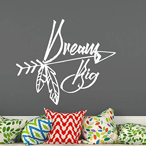 Dream Big Arrow pegatina de pared decoración del hogar calcomanías de pared niños dormitorio arte murales decoración A7 65x58cm