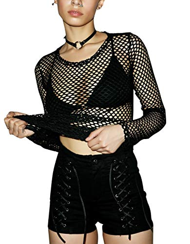 Carolilly Damen Netzoberteil Transparent Tüll Mesh Bluse Langarm Top Party Clubwear (S, Schwarz)
