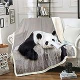 Homemissing Manta de forro polar con diseño de panda de dibujos animados, para niños, niñas, blanco y negro, manta de felpa de animal, bonita manta de oso difusa para sofá cama, doble de 156 x 188 cm