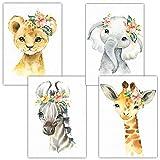 Frechdax® 4er Set Kinderzimmer Poster Babyzimmer Bilder DIN A4 | Kinder Poster Junge Mädchen | Dekoration Kinderzimmer | Waldtiere Safari Skandinavisch (4er Set Safari, Blumen, Giraffe)