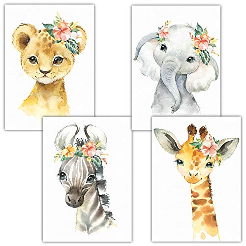 Frechdax® - Set di 4 Poster per la cameretta dei Bambini, Formato A4, 4er Set Blumen, Safari, A3-29,7x42cm