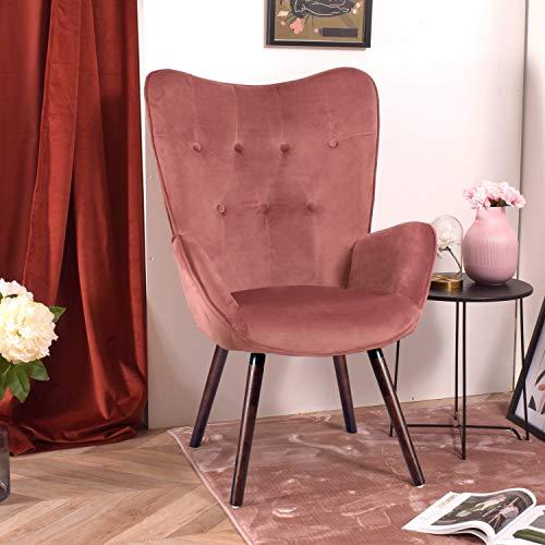 FURNISH1 Sillón de Terciopelo 68 x 73 x 106 cm Silla tapizada de Ocio Escandinavia con Patas de Madera marrón - Rosa