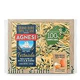 Agnesi Tagliatelle all'uovo paglia e fieno | Pasta all'uovo Festaiola | Confezione compostabile da 250 grammi