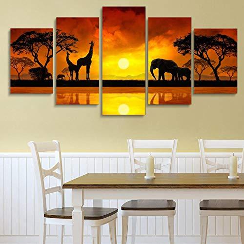 Hd-Afbeeldingen Schilderij Modulair Landschap Afdrukken Op Canvas Frameloze Schemering Olifant Giraffe Landschap Schilderij Huis Wanddecoratie Canvas Schilderij Kunst Schilderij
