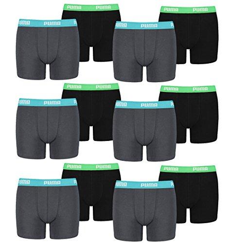 PUMA 12 er Pack Boxer Boxershorts Jungen Kinder Unterhose Unterwäsche, Farbe:376 - India Ink/Turquoise, Bekleidung:164
