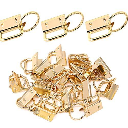 bobeini - Juego de 50 Piezas de Hardware para Llavero con llaveros para Bolso, muñequeras, Cinta, Cinta, artesanía, Oro