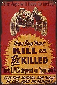 Graman Vintage Tin Sign WW2 Japanese Propaganda Poster - War Memorabilia Fine Art Metal Sign Metal Decor Wall Sign Wall Poster Wall Decor Door Plaque TIN Sign 140mm x 200mm Gift for Parents