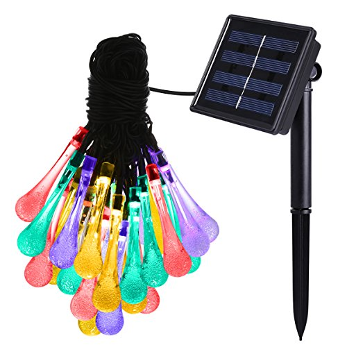 AMIR Solar Fairy Lights, (8 Modes 30LED) Water Drops Solar String Lights, 19.7ft/4.8m Waterproof Multi Color Icicle Christmas Lights, for Christmas, Garden, Patio, Yard, Home, Tree, Parties