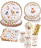 Woodland Creatures Party Supplies – Serves 16–Includes Woodland Baby Shower Plates Cups Napkins Straws for Woodland Baby Shower Decorations Boy Girl Fox Birthday Wild One Forest Animal Theme Parties