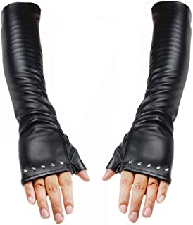 Luwint Long Rivet Faux Leather Fingerless Gloves – Fashion Female Touchscreen Mitten for Women Girls