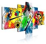 DekoArte 438 - Cuadros Modernos Impresión de Imagen Artística Digitalizada | Lienzo Decorativo para Tu Salón o Dormitorio | Estilo Abstractos Moderno Arte Kandinsky Rojo Azul | 5 Piezas 180x85cm XXL