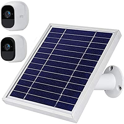 iTODOS Solar Panel Compatible with Arlo Pro and Arlo Pro 2, 11.8Ft Outdoor Power Charging Cable and Adjustable Mount,Not for Arlo cam,Arlo Ultra and Arlo Pro3(Silver)