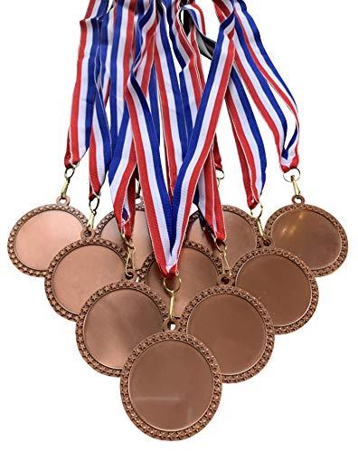 Confezione da 10 medaglie in bronzo con nastri per trofei premi, misura grande, 6,35 cm