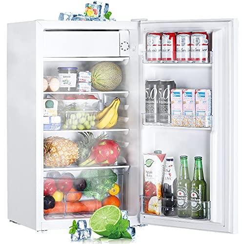 TECCPO Mini Frigorífico, 87L Mini Nevera con Congelador, Ahorro de Energía con Luz LED, 7 Niveles de Temperatura, Mini Nevera para Dormitorio, Oficina, Apartamento - Blanco