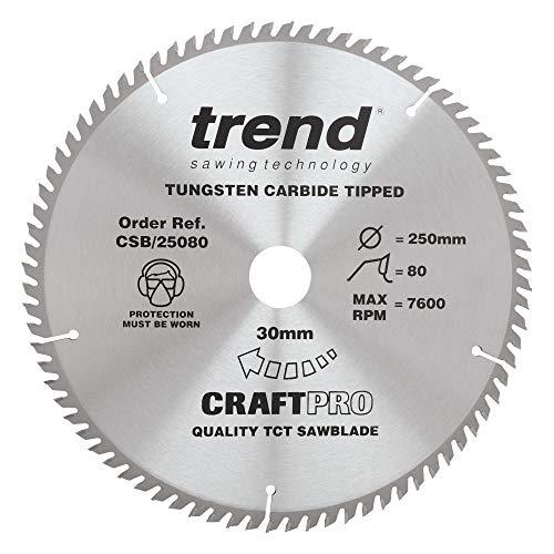 Trend CSB/25080 Craft Pro TCT Circular Saw Blade – 250 mm Diameter x 30mm Bore x 80 Tooth
