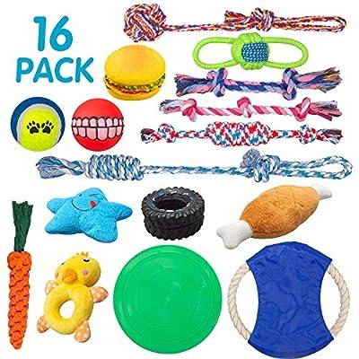 SOKUTOM Dog Puppy Toys 16 Pack,Puppy Chew Toys ...