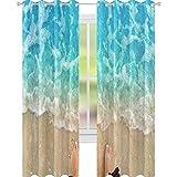 YUAZHOQI Cortinas opacas para pies de dormitorio en playa de arena con cortina de reducción de ruido de agua, 132 x 241 cm