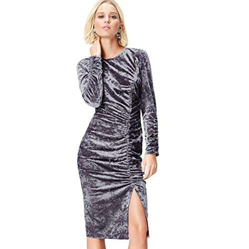 Marchio Amazon - find. Gonna di Velluto con Arricciatura Donna, Grigio (Grey), 42, Label: S