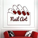 Pegatinas de Pared Pegatinas de uñas móviles Vinilo Manicura Belleza Pegatinas de Pared de Mano Tienda de uñas Pintura de Pared 56X65cm